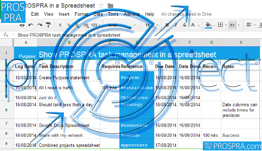 PROSPRA Spreadsheet Project screenshot